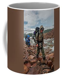 Boys Hike Along The Rocky Shore Coffee Mug