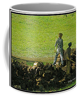 Coffee Mug featuring the photograph Boys Will Be Boys by Kathy Barney