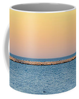 Coffee Mug featuring the photograph Breaking The Sunset by Steven Santamour