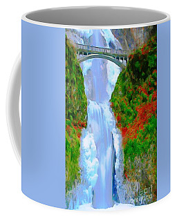 Coffee Mug featuring the painting Bridge Over Beautiful Water by Catherine Lott