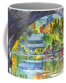 Coffee Mug featuring the painting A Covered Bridge In Autumn's Splendor by Carol Wisniewski