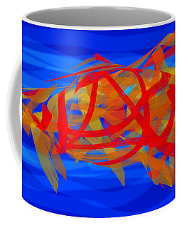 Coffee Mug featuring the digital art Bright Fish In Blue Water by Stephanie Grant