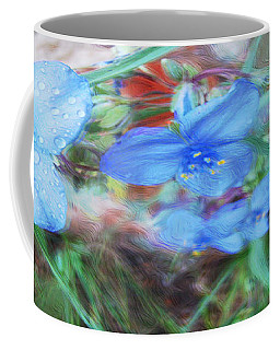 Coffee Mug featuring the photograph Brilliant Blue Flowers by Cathy Anderson