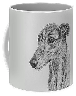 Brindle Greyhound Face In Profile Coffee Mug by Kate Sumners
