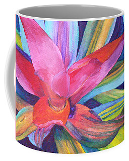 Coffee Mug featuring the painting Bromeliad Pink by Margaret Saheed