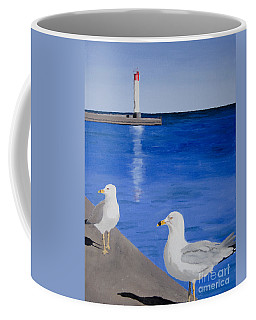 Bronte Lighthouse Gulls In Oil Coffee Mug