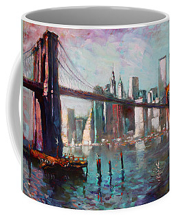 Brooklyn Bridge And Twin Towers Coffee Mug