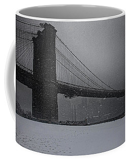 Coffee Mug featuring the photograph Brooklyn Bridge Blizzard by Chris Lord