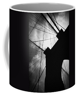 Coffee Mug featuring the photograph Brooklyn Bridge Silhouette by Dave Beckerman