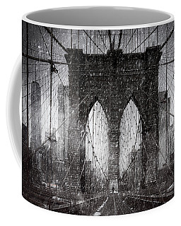Coffee Mug featuring the photograph Brooklyn Bridge Snow Day by Chris Lord