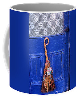 Coffee Mug featuring the photograph Broom On Blue Door by Rodney Lee Williams
