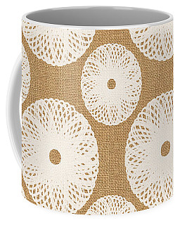 Brown And White Floral Coffee Mug