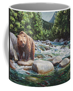 Brown Bear On The Little Susitna River Coffee Mug by Karen Whitworth