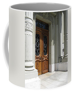 Coffee Mug featuring the photograph Brown Doors by Arlene Carmel