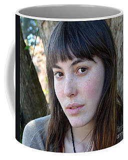 Coffee Mug featuring the photograph Brown Haired And Freckle Faced Natural Beauty Model Xiv by Jim Fitzpatrick