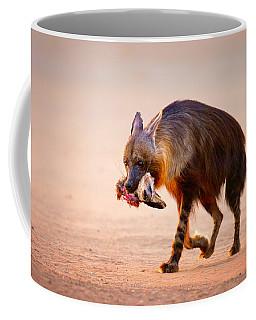Brown Hyena With Bat-eared Fox In Jaws Coffee Mug