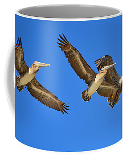Coffee Mug featuring the photograph Brown Pelicans In Flight by Debra Martz