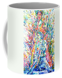 Bruce Springsteen And Clarence Clemons Watercolor Portrait Coffee Mug