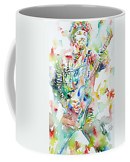 Bruce Springsteen Playing The Guitar Watercolor Portrait Coffee Mug