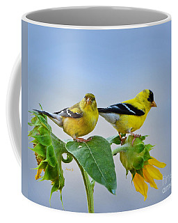 Sunflowers With Goldfinch Coffee Mug