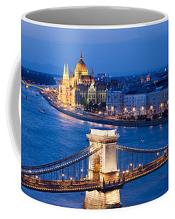 Budapest Cityscape At Night Coffee Mug