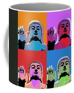 Coffee Mug featuring the digital art Buddha Pop Art - 4 Panels by Jean luc Comperat