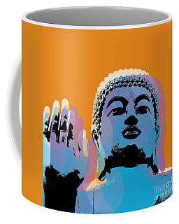 Coffee Mug featuring the digital art Buddha Pop Art - Warhol Style by Jean luc Comperat