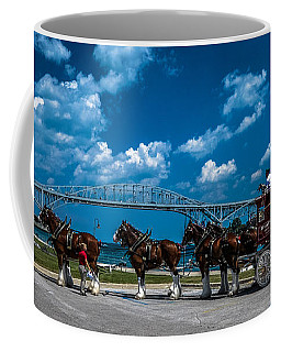 Budweiser Clydsdales And Blue Water Bridges Coffee Mug