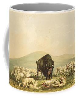 Buffalo Hunt White Wolves Attacking Buffalo Bull Coffee Mug