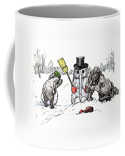 Building A Snow Elephant Coffee Mug by Donna Tucker