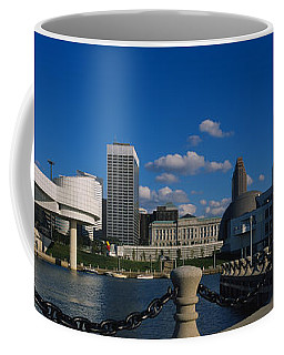 Building At The Waterfront, Rock And Coffee Mug
