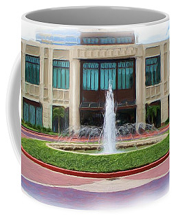 Coffee Mug featuring the digital art Building With Fountain Painting by Richard Zentner
