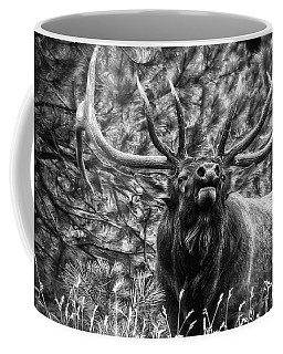Bull Elk Bugling Black And White Coffee Mug by Ron White