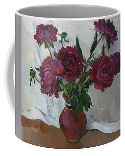 Burgundy Peonies Coffee Mug