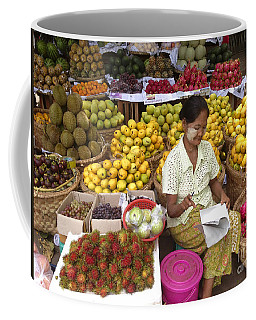 Burmese Lady Selling Colourful Fresh Fruit Zay Cho Street Market 27th Street Mandalay Burma Coffee Mug
