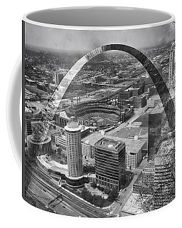 Busch Stadium Bw A View From The Arch Merged Image Coffee Mug