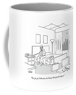 Businessman Sitting On A Bed In Hotel Room Coffee Mug by Jack Ziegler