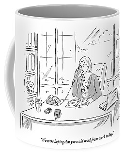 Businesswoman At Her Desk On The Telephone Coffee Mug