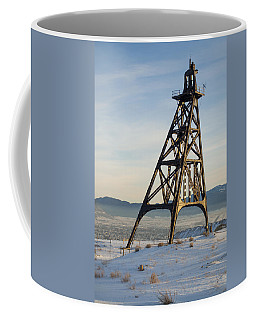 Coffee Mug featuring the photograph Butte Headframe by Fran Riley
