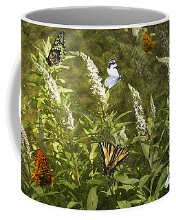 Coffee Mug featuring the photograph Butterflies In Golden Garden by Belinda Greb