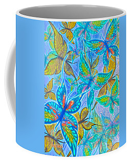 Coffee Mug featuring the mixed media Butterflies On Blue by Teresa Ascone