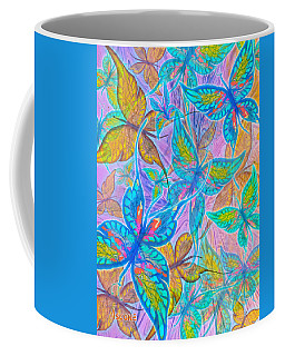 Coffee Mug featuring the mixed media Butterflies On Lilac by Teresa Ascone