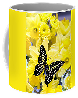 Butterfly Among The Daffodils Coffee Mug