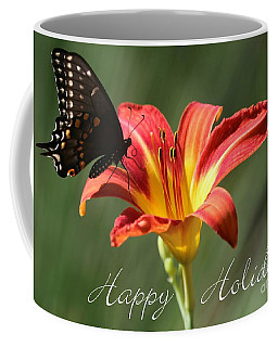 Butterfly And Lily Holiday Card Coffee Mug
