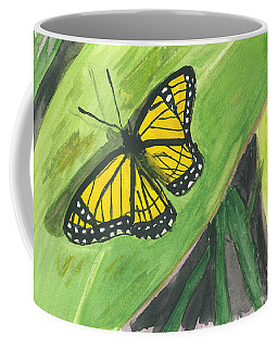 Coffee Mug featuring the painting Butterfly In Vermont Corn Field by Donna Walsh