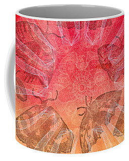 Coffee Mug featuring the digital art Butterfly Letterpress Watercolor by Kyle Hanson