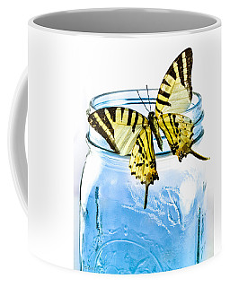 Coffee Mug featuring the photograph Butterfly On A Blue Jar by Bob Orsillo