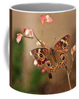 Coffee Mug featuring the photograph Butterfly On Pink by Beth Sargent