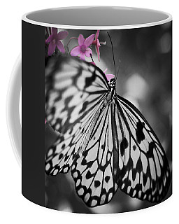 Butterfly On Pink Flowers Coffee Mug