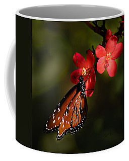 Butterfly On Red Blossom Coffee Mug